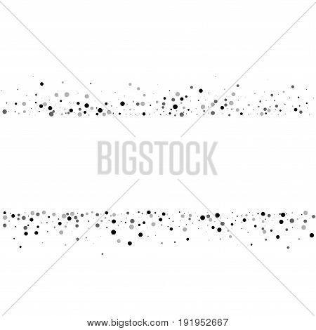 Dense Black Dots. Scatter Lines With Dense Black Dots On White Background. Vector Illustration.