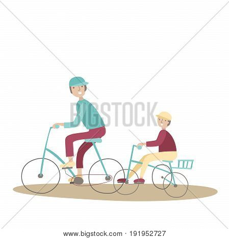 Dad and son riding bikes. Family Bicycle Sports and physical activity with children, joint active recreation. Vector illustration in flat style, isolated on white background.