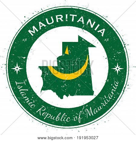 Mauritania Circular Patriotic Badge. Grunge Rubber Stamp With National Flag, Map And The Mauritania