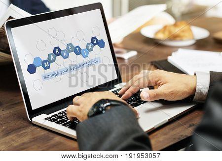 Business economics financial transaction investment graphic on laptop