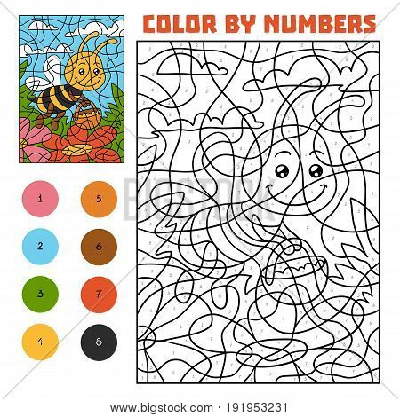 Color By Number For Children, Bee