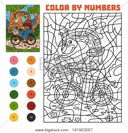 Color By Number For Children, Giraffe On A Bicycle