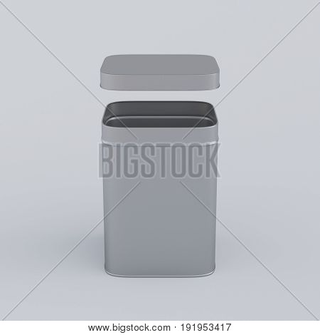 Opened aluminum box with shadow, 3D rendering