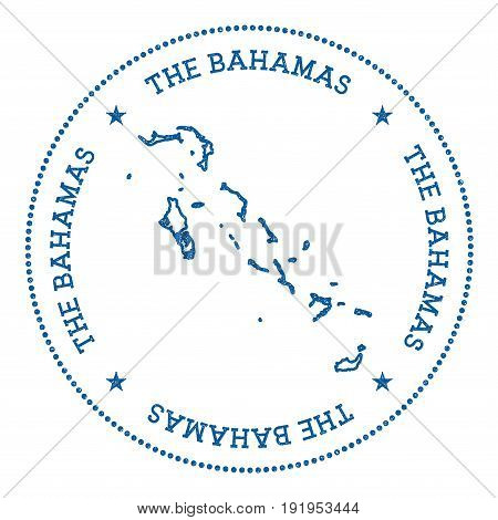 Bahamas Vector Map Sticker. Hipster And Retro Style Badge With Bahamas Map. Minimalistic Insignia Wi
