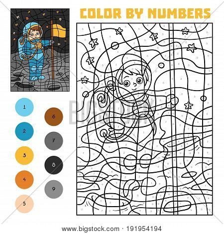 Color By Number For Children, Astronaut