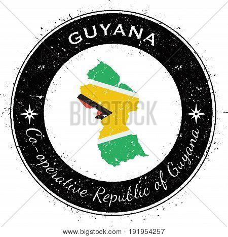 Guyana Circular Patriotic Badge. Grunge Rubber Stamp With National Flag, Map And The Guyana Written