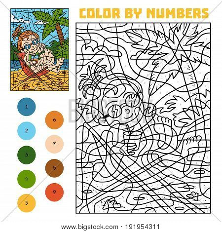 Color By Number For Children, Girl On A Deck-chair