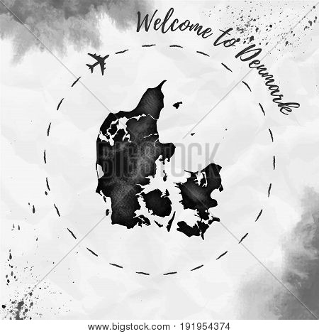 Denmark Watercolor Map In Black Colors. Welcome To Denmark Poster With Airplane Trace And Handpainte
