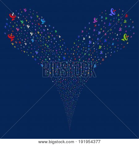 Antenna fireworks stream. Vector illustration style is flat bright multicolored iconic antenna symbols on a blue background. Object fountain constructed from random pictograms.