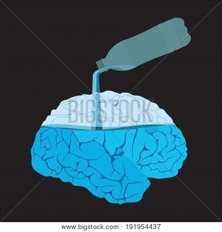 Medicine icon brains filled with water flat design image