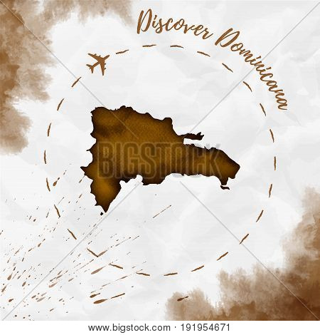 Dominicana Watercolor Map In Sepia Colors. Discover Dominicana Poster With Airplane Trace And Handpa