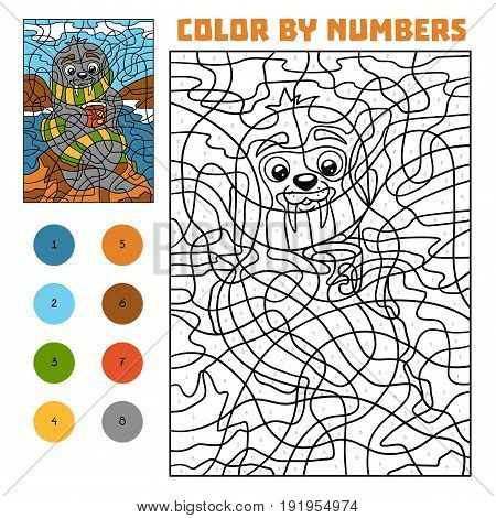 Color By Number For Children, Walrus On The Beach