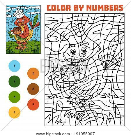 Color By Number For Children, Bird With Cake