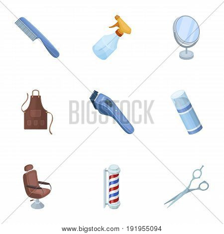 Male barber, symbol, clipper and other equipment for hairdressing.Barbershop set collection icons in cartoon style vector symbol stock illustration .