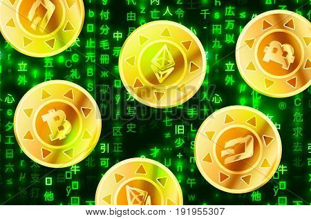 Glossy golden coins with bitcoin ethereum and dashcoin signs on green matrix binary code cryptocurrency concept illustration