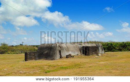 Japanese Air Raid shelter, Saipan International Airport Relics of a World War 11 Japanese air raid shelter near the Saipan International Airport
