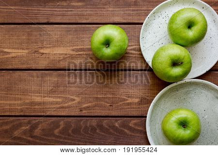 Healthy Green Food With Apples On Plates Wooden Background Top View Mock Up