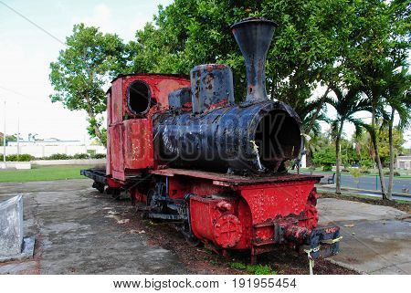 Old train at the Sugar King Park, Saipan Historic train at the Sugar King Park in Garapan, Saipan, a restored train engine during the Japan Administration era used for the sugar industry