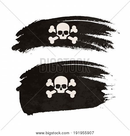 Grunge brush stroke with pirate flag isolated on white