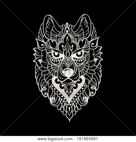 Tribal ethnic wolf, detailed colorful ornamental pattern, hand drawn abstract artwork in line art graphic style, black and white vector illustration