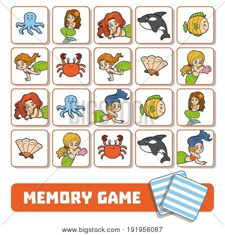 Memory Game For Children, Cards With Mermaids And Fishes