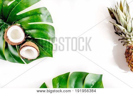 Sliced Exotic Fruits - Coconut And Pineapple On White Background Top View Space For Text