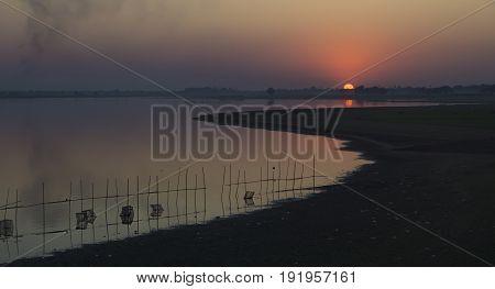 Sunset At The Lake Of U-bein Bridge, Myanmar