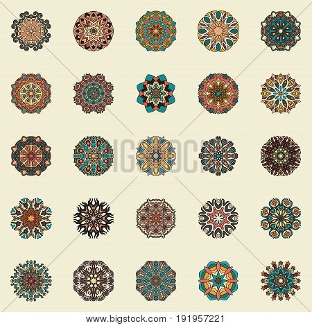 Mandalas collection. Round Ornament Pattern. Vintage decorative elements. Geometric Round circle Ornament elements made in vector. Islam Arabic Indian ottoman motifs.