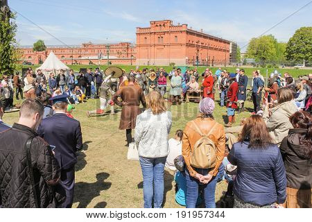 St. Petersburg Russia - 28 May, The circle of viewers of the Viking tournament,28 May, 2017. Knight tournament at the festival of ancient Vikings in St. Petersburg.