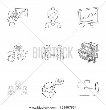 A set of pictures about the transaction, work, office. Office center, analytics.Business conference and ntgotiations icon in set collection on outline style vector symbol stock web illustration.
