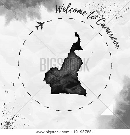 Cameroon Watercolor Map In Black Colors. Welcome To Cameroon Poster With Airplane Trace And Handpain