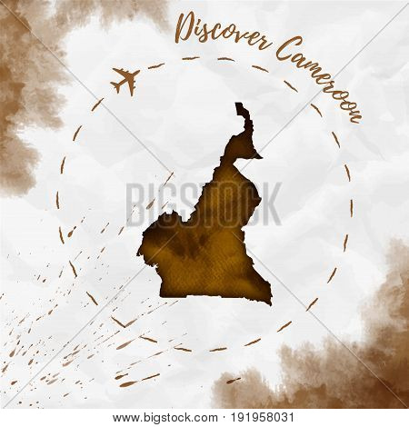 Cameroon Watercolor Map In Sepia Colors. Discover Cameroon Poster With Airplane Trace And Handpainte