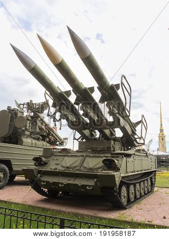 St. Petersburg Russia - 28 May, The launcher of the anti-aircraft missile complex Kub-M3,28 May, 2017. Military History Museum of combat equipment in St. Petersburg.