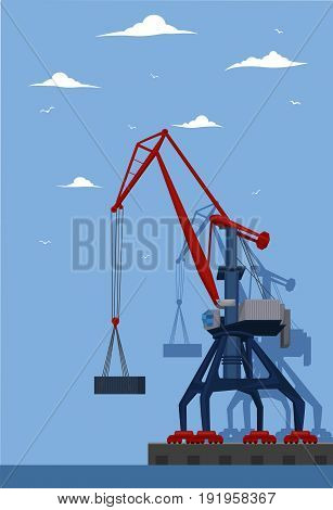 Seaport banner with port crane. Maritime container transportation, commercial transportation logistics. Worldwide freight shipping business company, global delivery service vector illustration