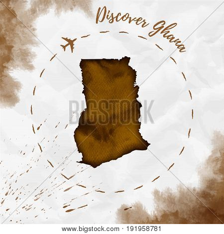 Ghana Watercolor Map In Sepia Colors. Discover Ghana Poster With Airplane Trace And Handpainted Wate