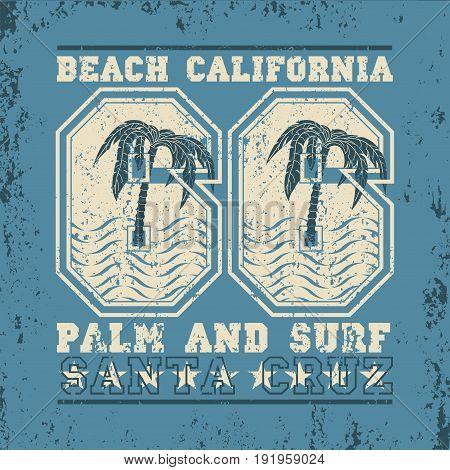 Surfing California surfing santa kruz water sports T-shirt inscription typography graphic design emblem