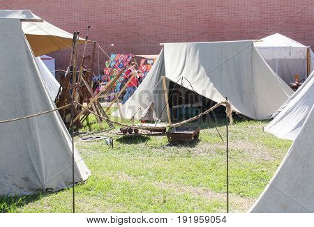 St. Petersburg Russia - 28 May, The tent city of the ancient Vikings,28 May, 2017. Festival of the Legends of the Norwegian Vikings in St. Petersburg.