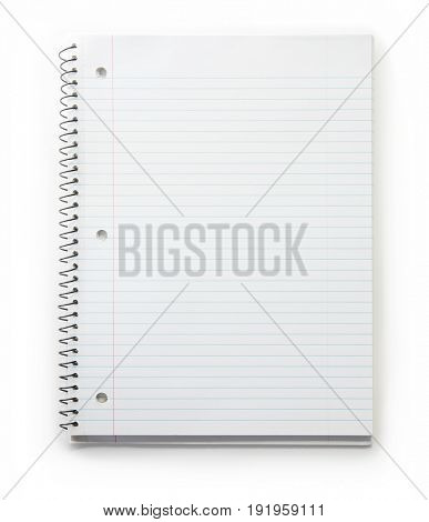 Blank note book with three ring binder holes and red margin line, isolated on white.