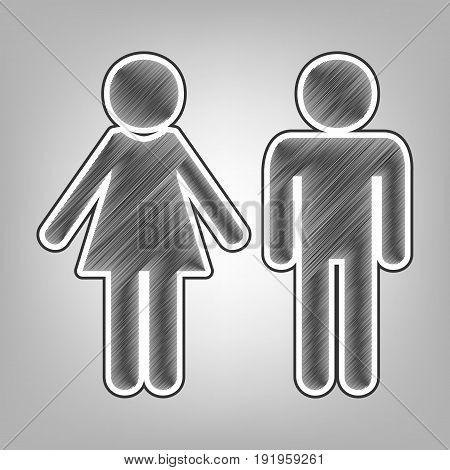 Male and female sign. Vector. Pencil sketch imitation. Dark gray scribble icon with dark gray outer contour at gray background.