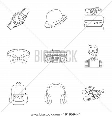 A set of icons about the style of a hipster. A peculiar youth style. Hipster style icon in set collection on outline style vector symbol stock web illustration.