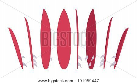 Surfboard set, sport of surfing equipment. Enjoy the surface water riding, standing in different positions, bright red color. Vector flat style cartoon illustration, isolated, white background