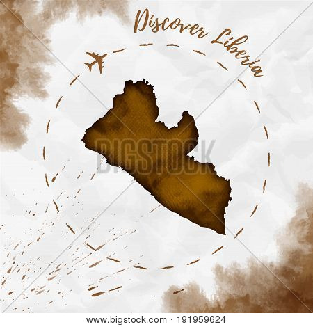 Liberia Watercolor Map In Sepia Colors. Discover Liberia Poster With Airplane Trace And Handpainted