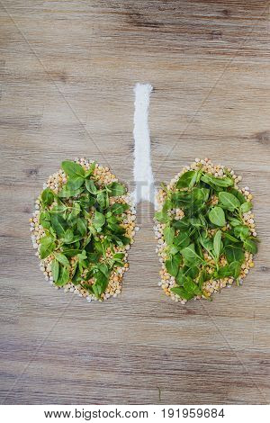 Overhead shot of human lungs made of dry peas and green leaves. Breathing clean air saving the planet air pollution smoking bad ecology polluted environment global warming concept issue symbol