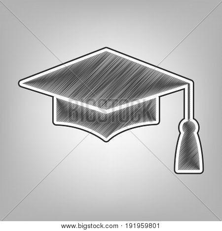 Mortar Board or Graduation Cap, Education symbol. Vector. Pencil sketch imitation. Dark gray scribble icon with dark gray outer contour at gray background.