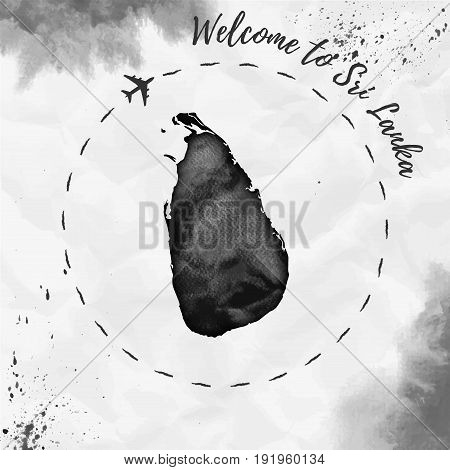 Sri Lanka Watercolor Map In Black Colors. Welcome To Sri Lanka Poster With Airplane Trace And Handpa
