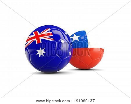 Two Footballs With Flags Of Australia And Chile Isolated On White