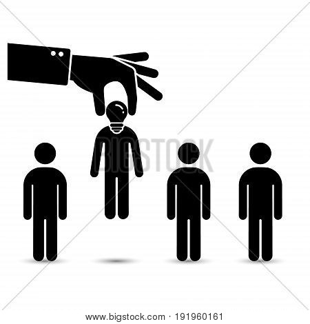 Choosing talent the best candidate for job concept black illustration. Hand picking up a businessman Vector.