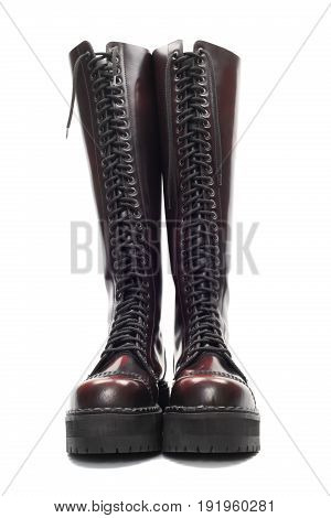 High Leather boots isolated over white with clipping path