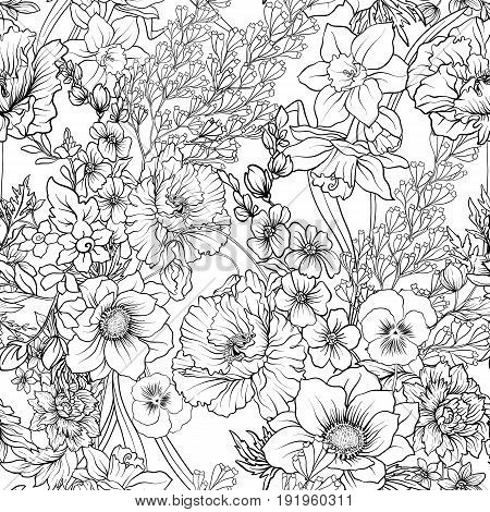Seamless pattern with poppy flowers daffodil, anemone, violet in botanical vintage style. Outline hand drawing coloring page for adult coloring book. Stock line vector illustration.