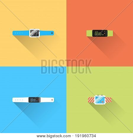 Vector set of smart watch with long shadow on the color background.